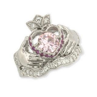 Irish Claddagh Engagement Wedding Ring Set Pink Diamond Rings