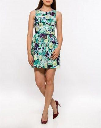 Rochie cu pliuri scurta cu imprimeu floral