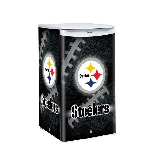 """NFL Pittsburgh Steelers Counter Top Refrigerator by Boelter Brands. $319.99. From the Manufacturer                Keep your drinks cold and your snacks fresh with Boelter Brands Counter Height Fridge.  Fridge is 3.2 Cubic feet and measures 17"""" in width, 19"""" in depth, and 32.5"""" in height.  Features bold wrap around team graphics with logo and holds up to 84 cans.  Fridge has auto cycle, defrost, worktop, sliding shelves, and freezer.  Great for the office, bedroom, or d..."""