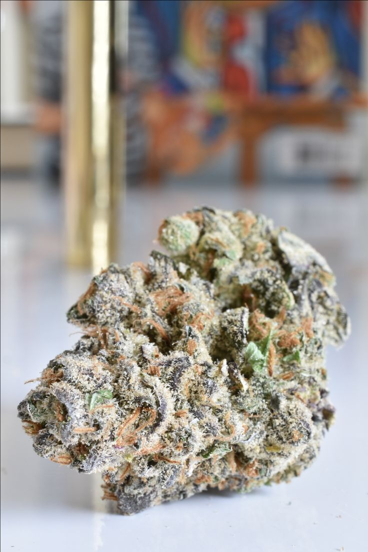 """This is beautiful marijuana bud with its violet and pink hues is a very dense, very dreamy Indica-dominant cannabis hybrid called """"The Pink"""". As you bust it up you see mor dark, violet hues and punk hairs. When smoked the high is a fast onset of euphoria - followed by a melting body stone that will lock you to your couch. #indica #cannabis"""