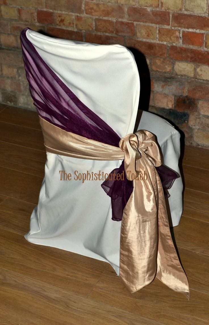Burgundy Organza Shawl with Gold Organza Bow on Ivory Chair Cover