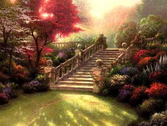 Come to the garden.....: Thomaskincad, Thomas Kincaid, Gardens Gates, Thomas Kincad, Paradise, Stairways To Heavens, Kinkade Paintings, Thomas Kinkade, Gardens Stairs