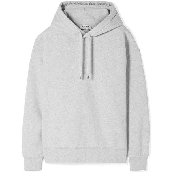Acne Studios Yala oversized cotton-fleece hooded top ($420) ❤ liked on Polyvore featuring tops, hoodies, light gray, logo top, oversized tops, skate hoodies, logo hoodies and oversized hoodies