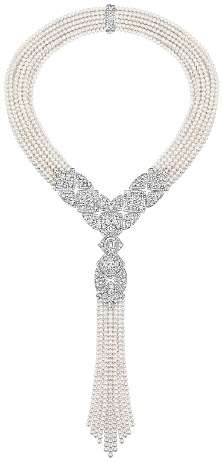 """Signature De Perles"" Necklace from Chanel - Fine Jewelry collection. 18K white gold set with 3.4 carat Emerald Cut Diamonds and Japanese cultured Pearls"