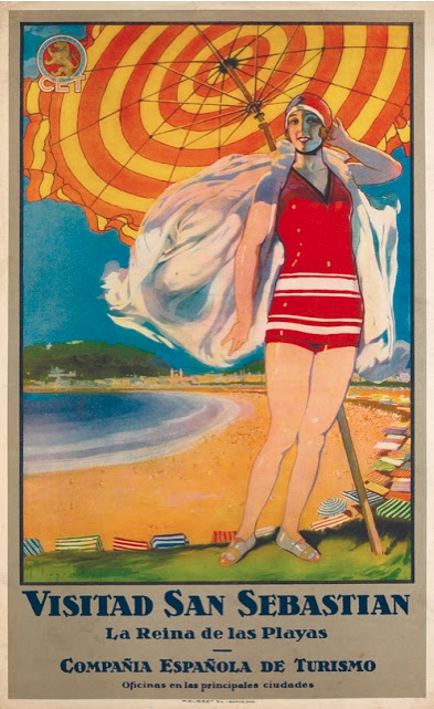Vintage travel beach deco, by José Segrelles, 1 9 2 7, San Sebastian, La Reina de las Playas, Spain. #beach #art #deco - www.varaldocosmetica.it/en