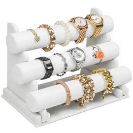 Présentoir À Bijoux, Porte Bijoux, Bracelets, Colliers, Montres, 3 Escaliers - Blanc - Tectake #Bijoux #Rangement
