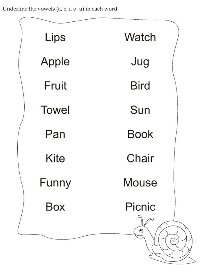 Download English Activity Worksheet Underline The Vowels A E I O U In Each Word From Bestcoloringpa Handwriting Worksheets For Kids Reading Words Phonics