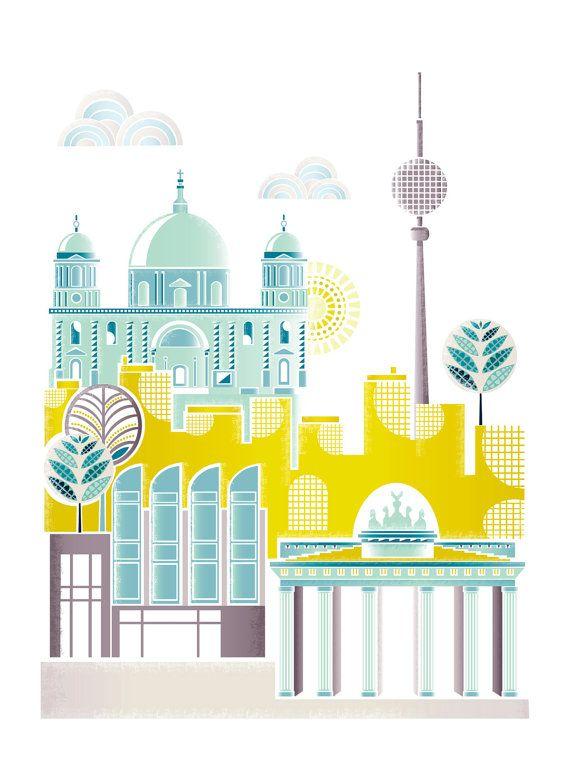 Berlin Art Print, Skyline, Paper wall Poster, Cityscape Illustration, Art kids room, nursery, bedroom, Kitchen, Gift, yellow green