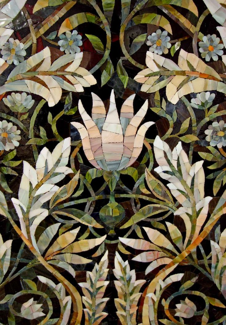 Panels of mosaic with floral ornaments