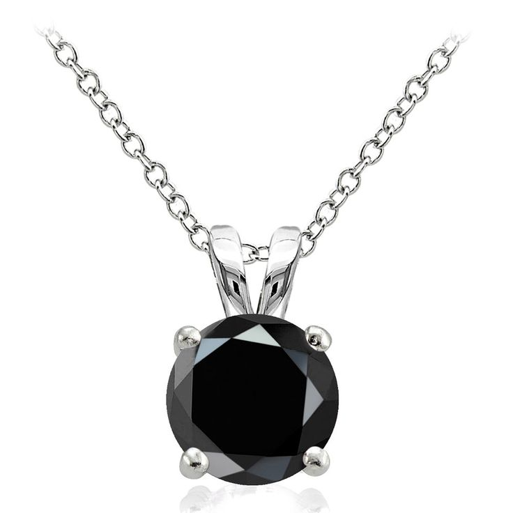 Sterling Silver 2.75ct Black Cubic Zirconia 9mm Round Solitaire Necklace