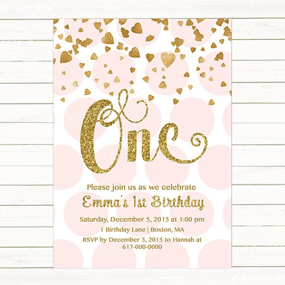 Pink And Gold Princess 1st Birthday Party Fresh Pink And: Pink And Gold 1st Birthday Invitation Girl, Any Age Pink