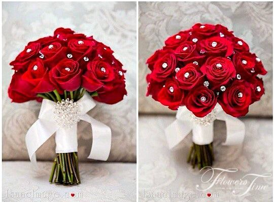 Red roses bridal bouquet by Flowers Time
