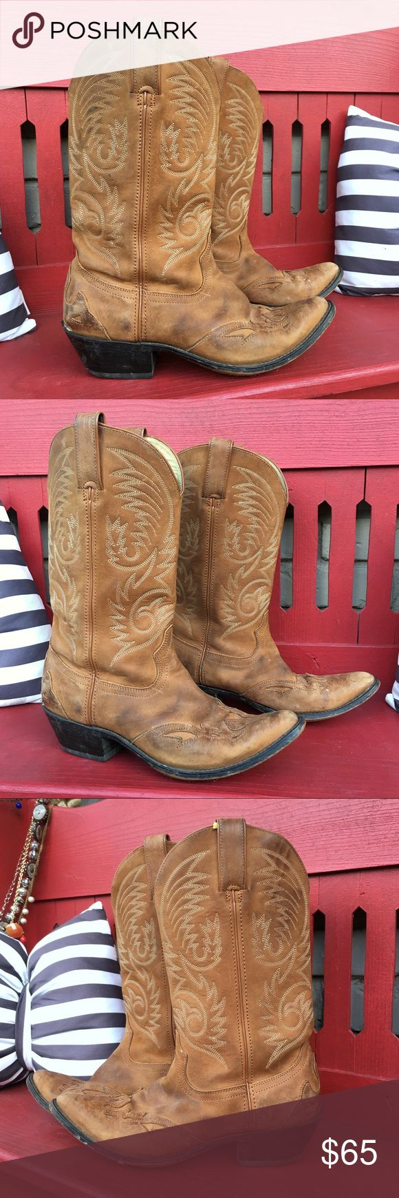 Vintage Durango camel tan leather cowboy boots Vintage leather Durango cowboy boots. PLEASE see all pics of spots and wear. Size 8.5. Look great with jeans and dresses! Durango Shoes