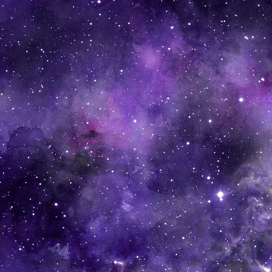 Space Stars Deep Purple Star Filled Sky Watercolour (With