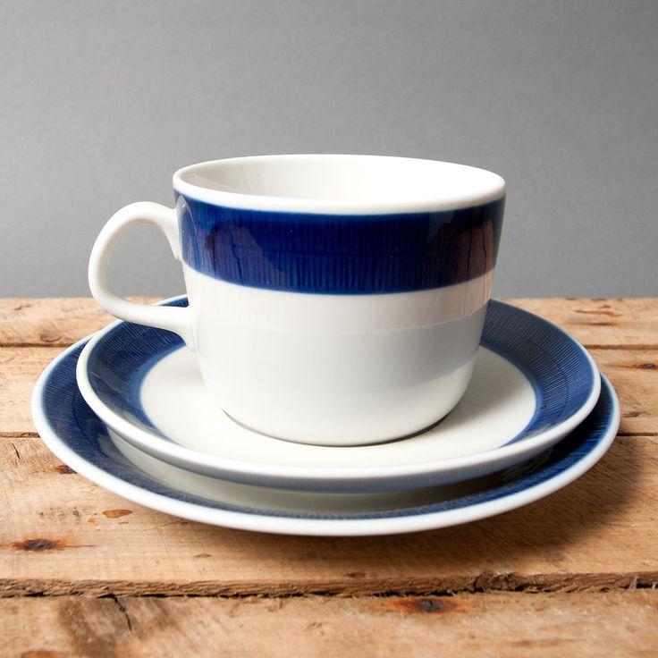 cup white blue koka rorstrand saucer plate sweden art pottery scandinavian