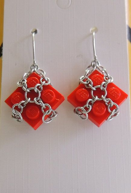 Red Lego Dangle Earrings with Aluminium by StarTideDesigns on Etsy, $25.00
