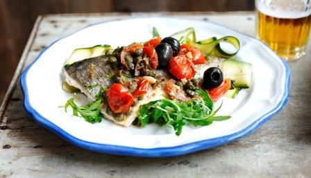 Just made this myself... wow!   BBC - Food - Recipes : Sea bream with a courgette salad with fresh mint and rocket