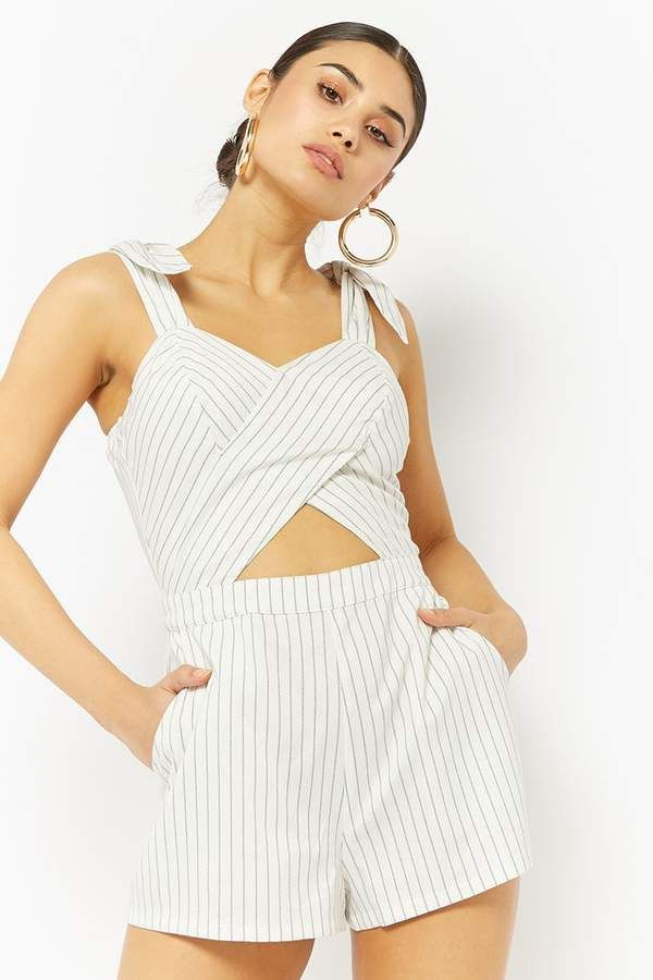 c0841965323d Forever 21 Cutout Pinstriped Romper~CLICK TO BUY~