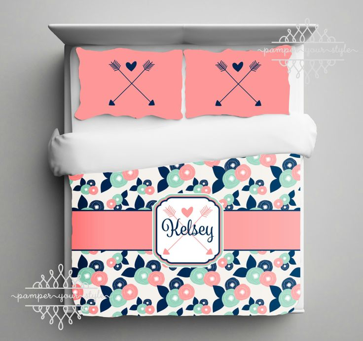 Tribal Personalzied Bedding - Boho Inspired Bedroom - Custom Personalized Bedding - Coral, Navy and Mint Bedroom - Aztec Bedroom by PAMPERYOURSTYLE on Etsy