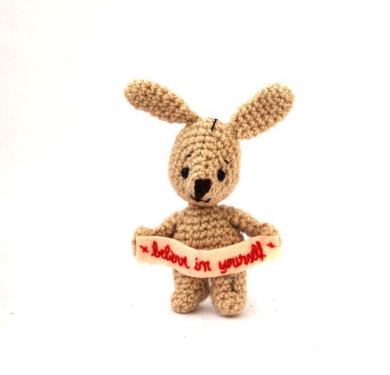 BELIEVE IN YOURSELF little bunny holding a by tinyworldbycrochAndi