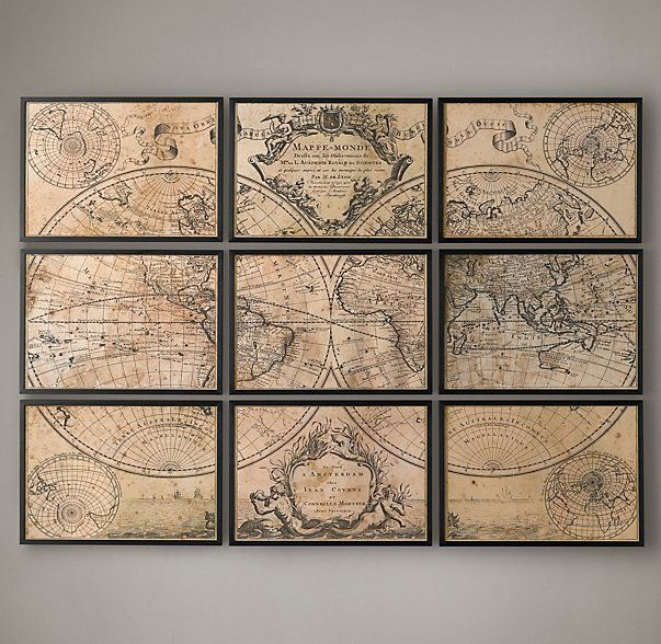 17 best world maps images on pinterest world maps frame and worldmap this is pretty cool idea for an inexpensive wall print restoration hardware map gumiabroncs Choice Image