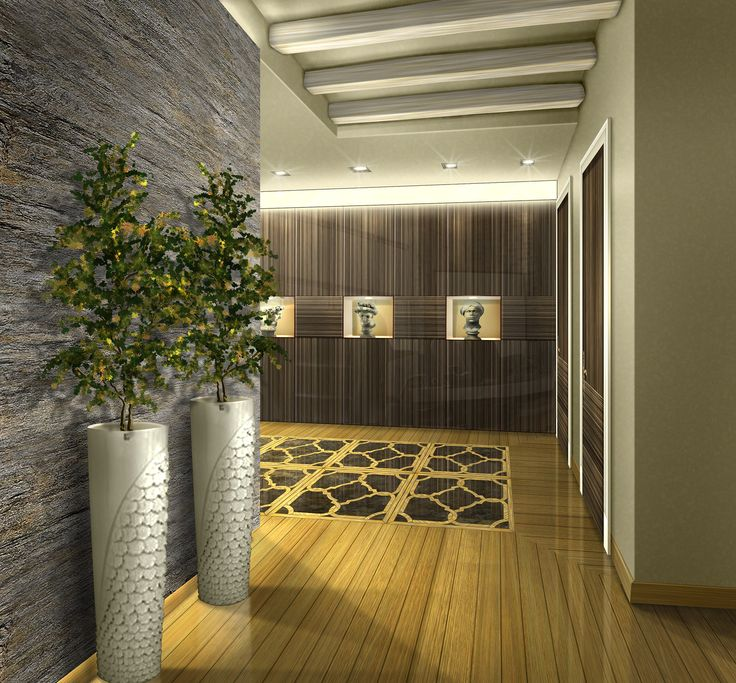 Entrance - Parquet flooring - render - Interior decorations