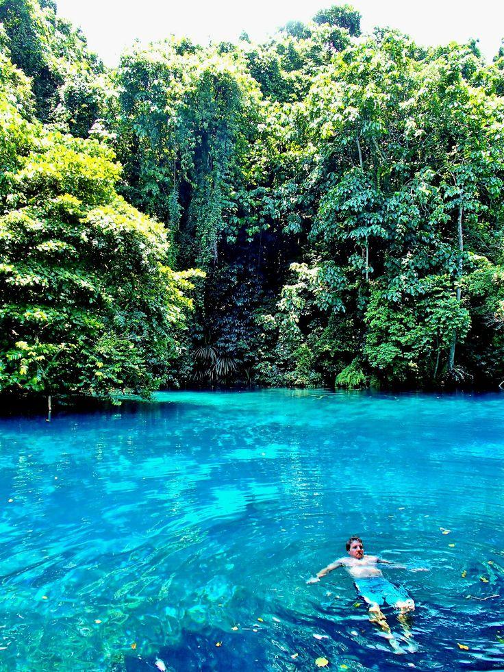 Swim in a blue hole