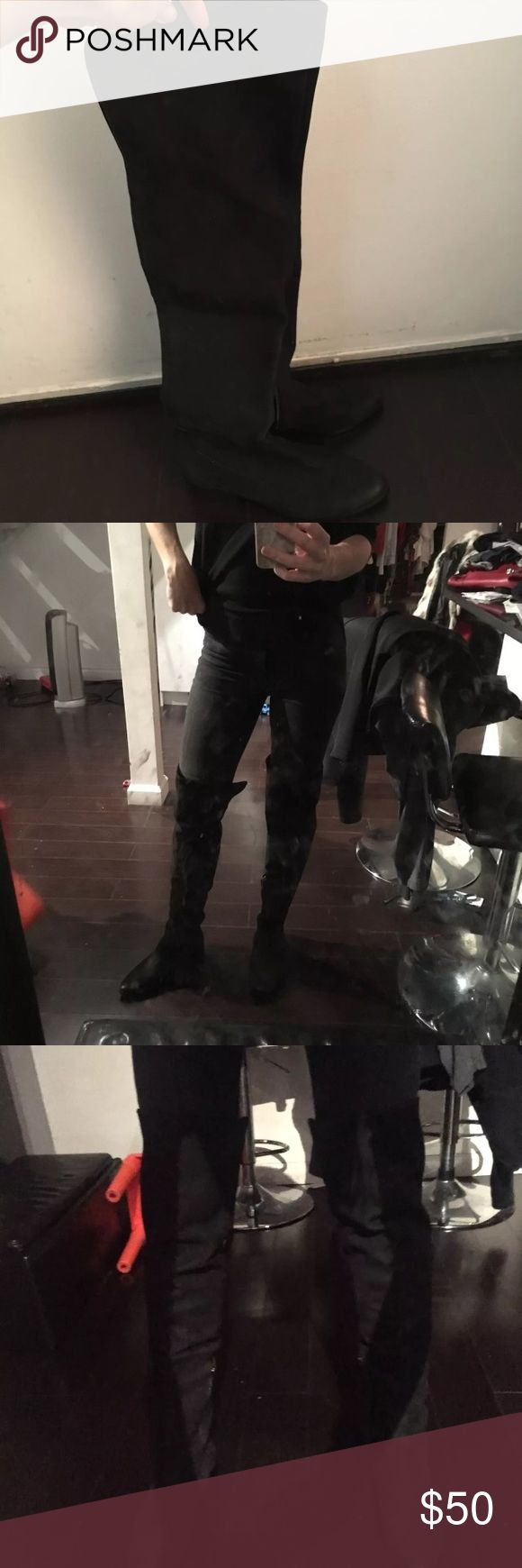 Aldo black suede over the knee boots new Cyber Monday / Black Friday deal! Size 9 Brand new  Paid $200  Gorgeous & sexy black suede over the knee boots by Aldo.  Works also for wide calves. Similar to Zara.. Aldo Shoes Over the Knee Boots