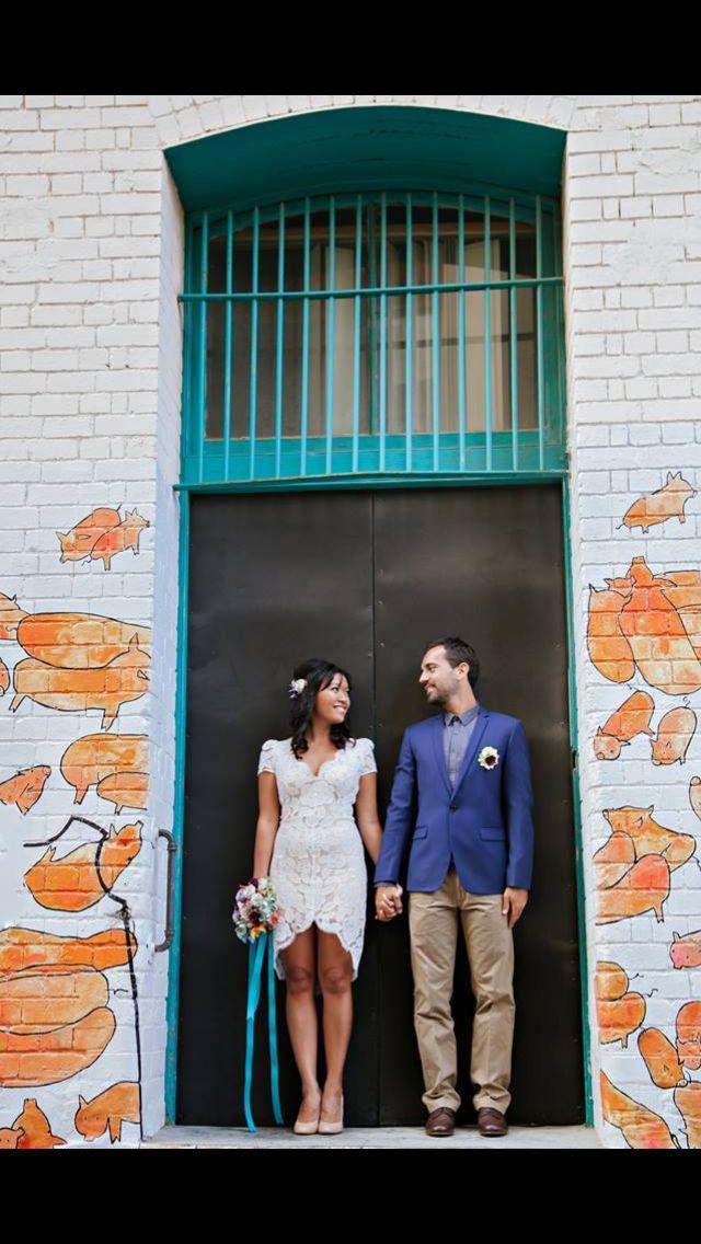Retro wedding graffiti wedding photos