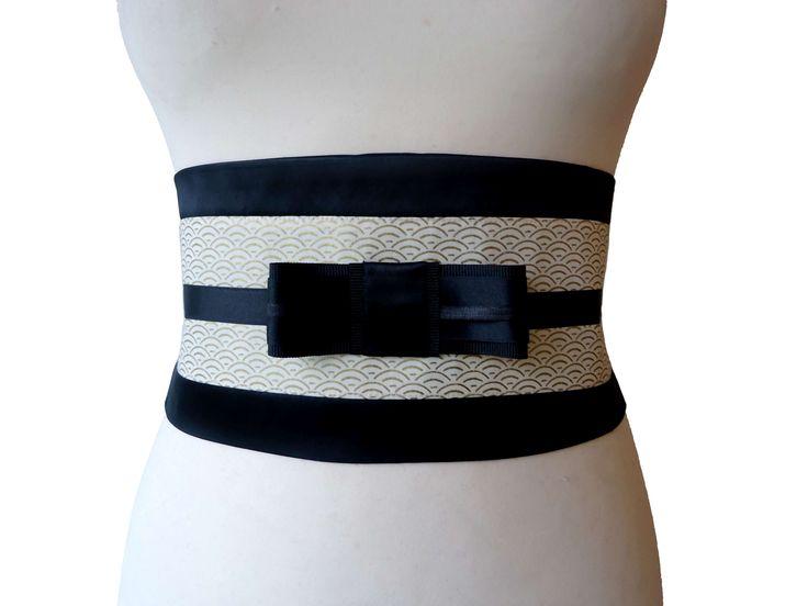 Large ceinture obi Ysia écru or & noir