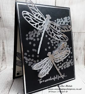 Ann's Happy Stampers: Beautiful heat embossed card using Dragonfly Dream...
