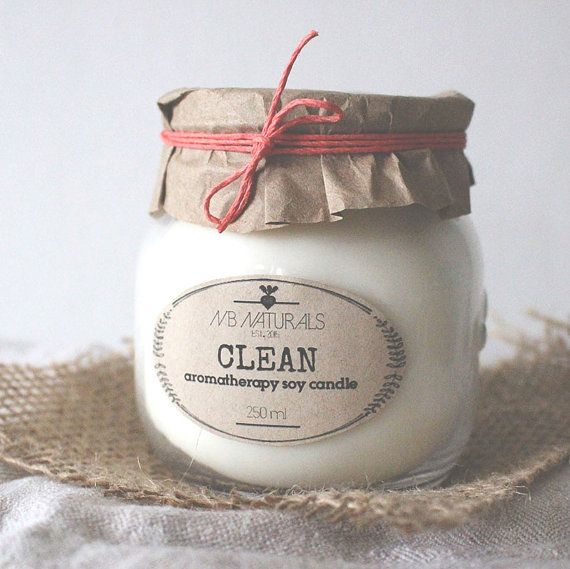Clean is an #invigorating blend of #lemongrass, clary sage, and white thyme. This scent will help #purify air and uplift spirits of all those who take in its bright aroma.