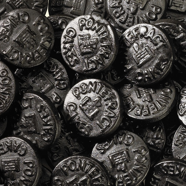 Pontefract cakes are thick liquorice discs which were originally manufactured in the Yorkshire town of the same name. Supposedly dating from as early as the 17th century, the cakes are traditionally stamped with an image of Pontefract Castle.