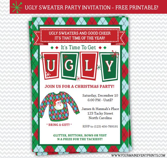 26 best Christmas Party Printables images on Pinterest Christmas - free xmas invitations