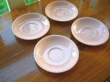 Vintage Johnson Of Australia Scalloped Edge Pink Saucer Set of 4