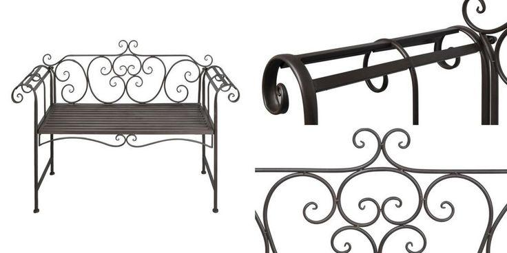 Antique Metal Outdoor Bench Garden Brown Seating Patio Vintage Furniture Chair