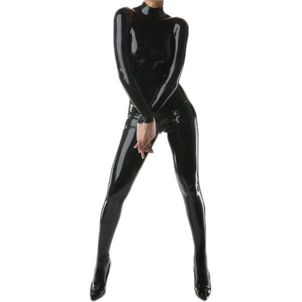 AvaCostume Women's Latex Catsuit Bodysuit Unitard Tights (175 CAD) ❤ liked on Polyvore featuring intimates, hosiery, tights, latex pantyhose, body suit, latex tights, latex stockings and latex body suit