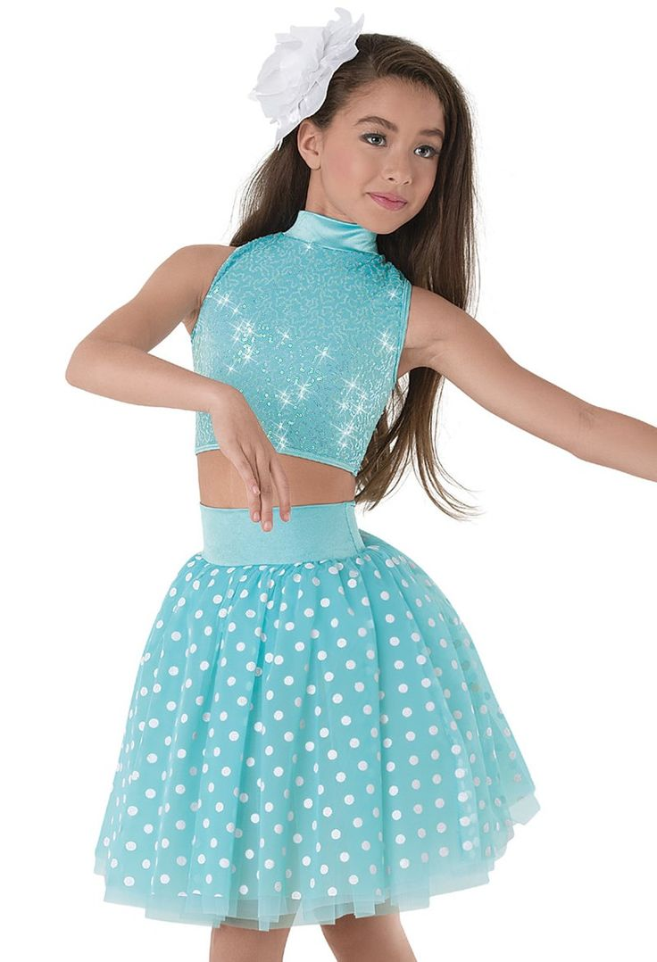 Weissman Two Piece Sequin Crystal Dot Tulle Dance