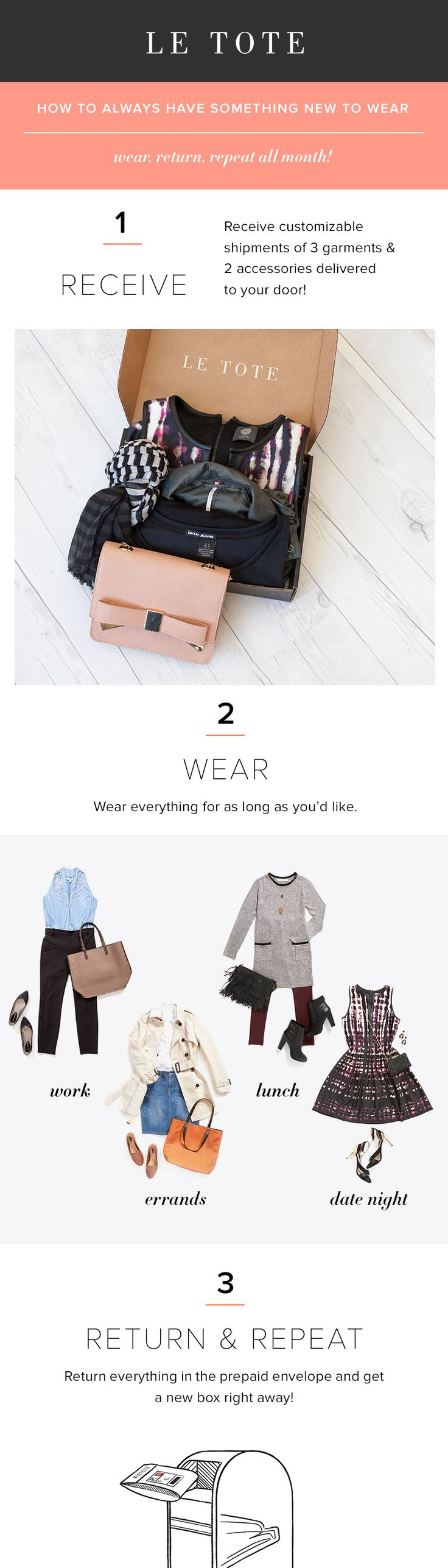 Ready for your fall wardrobe? Try Le Tote for $59/month and get 3 garments and 2 accessories delivered to your door - unlimited times each month. Wear everything. Send it back. Receive your next set of options days later! Who wouldn't want to always have something new to wear?