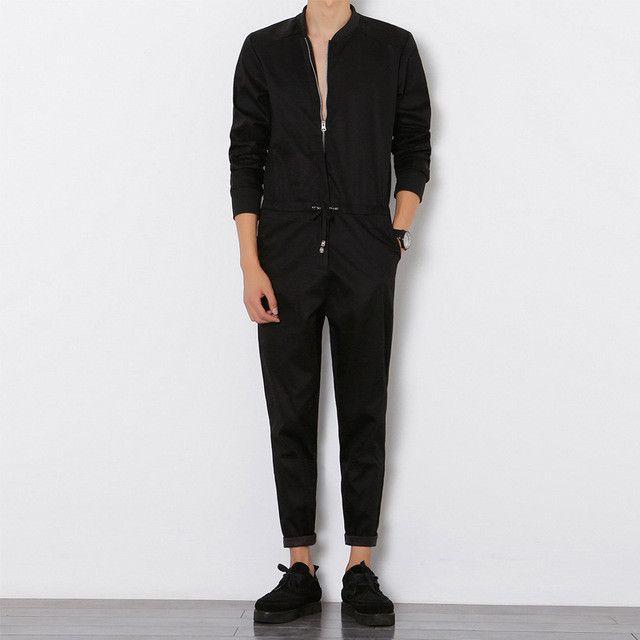 Clobee Mens Jumpsuit Long Sleeved Overalls Male Elegant Cool Overalls Slim Fit Harem Pants Hip-Hop Trousers Black Jumpsuit