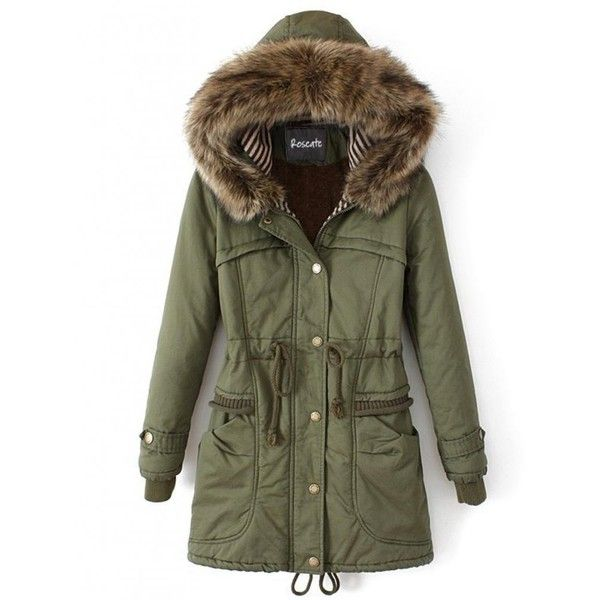 Roseate Women's Long Quilted Coat Green Casual Parkas with Faux Fur... ($87) ❤ liked on Polyvore featuring outerwear, coats, quilted parka, green parka coat, green parka, faux fur hood parka and long parka