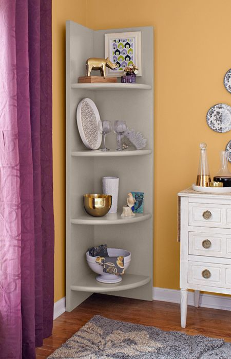 Turn an empty corner into a display space. Make this corner shelf in minutes from doors and a 36-inch round board. Then paint it to complement your decor.