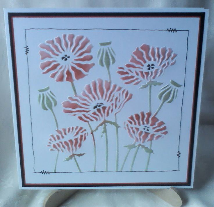 Lynne Lee - Clarity Stamps poppy stencil embossed and coloured with distress inks. #cardmaking #papercraft