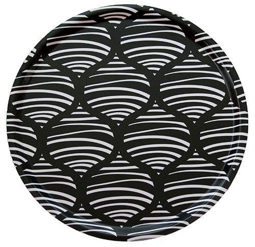 Fröjd tray black/white 38 cm - Trays - HOME & DECOR #nordicdesigncollective