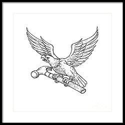 Eagle Clutching Hammer Drawing Framed Print by Aloysius Patrimonio