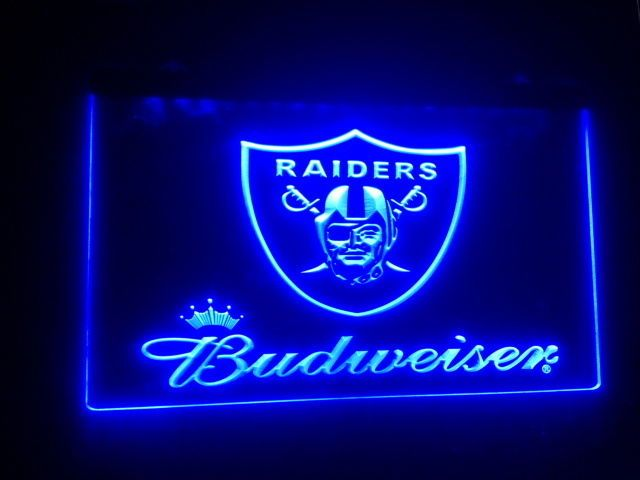 Oakland Raiders Budweiser beer bar pub 3d signs LED Neon light Sign man cave new