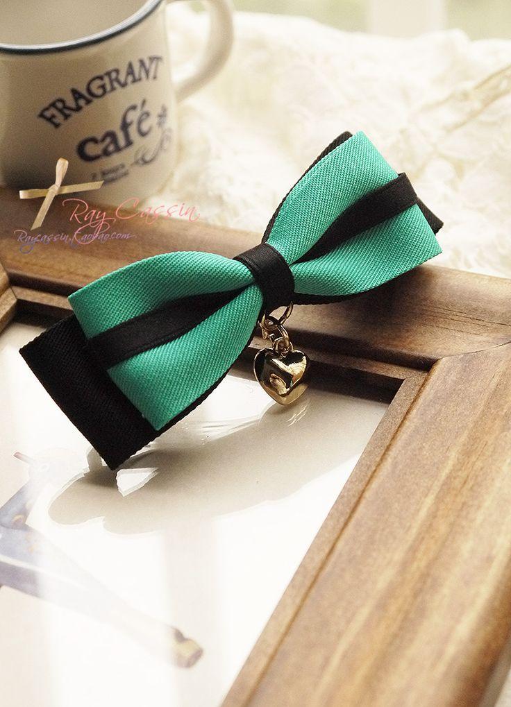 出口订单 绿黑间麻布缎带双层蝴蝶结 弹簧夹 顶夹 发夹-淘宝网