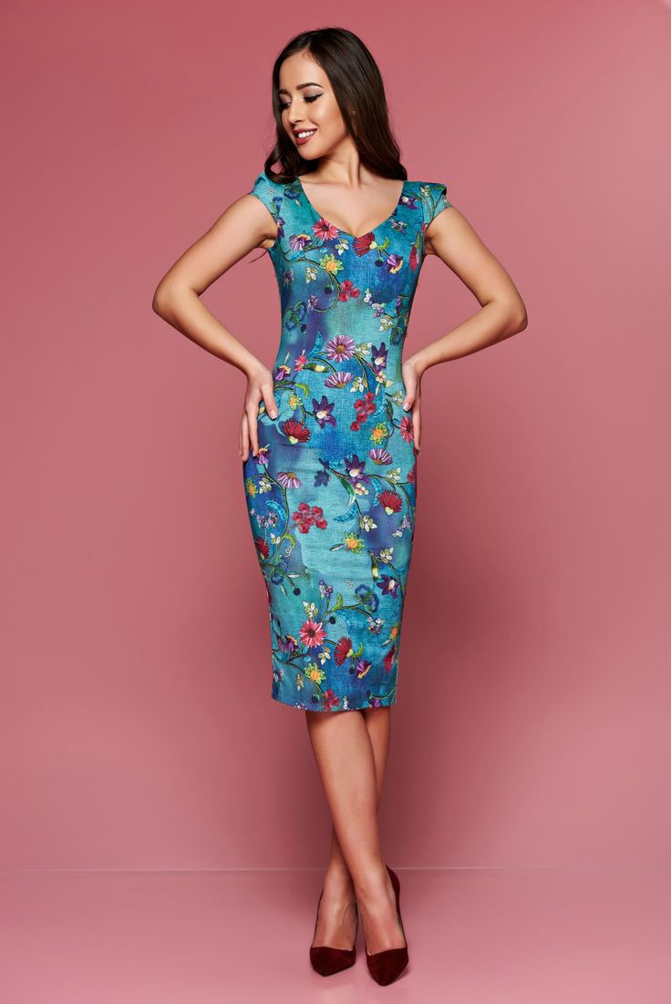 Comanda online, Rochie midi tip creion Fofy albastra cu imprimeuri florale. Articole masurate, calitate garantata!