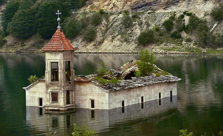 The church under water in Mavrovo lake: Old House, Buckets Lists, The Artists, Saint Nicholas, Artificial Lakes, The Village, 153 Years, World Geography, Abandoned Church