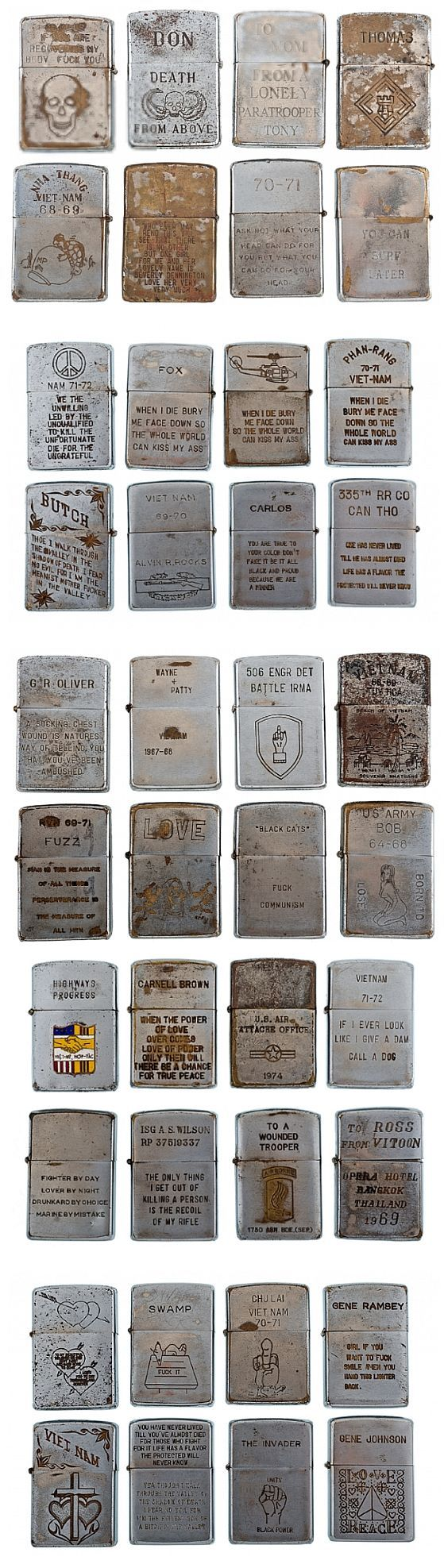 Vintage Vietnam Zippo Lighter Collection - sold at auction for more than 32K: